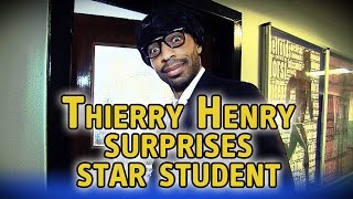 Thierry Henry disguises himself with a wig to surprise student with award