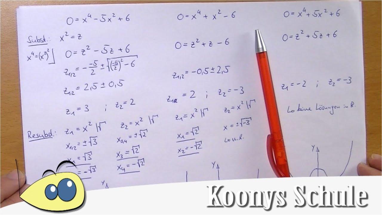Nullstellen biquadratischer Gleichungen, 3 Fälle | Substitution ...