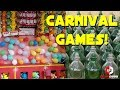 Pop The Balloon and Toss The Ring On The Bottle Carnival Game Win! Playing Games at Six Flags