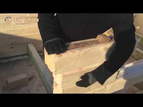 Возводим стены, межвенцовое утепление (4/11). Сборка дома из профилированного бруса СК Три Топора