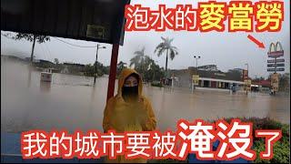 我的城市要被淹沒了!蟒蛇,鱷魚出沒路上!泡水麥當勞,馬來西亞水災,10幾年來最嚴重一次!實地拍攝(Jeff & Inthira)