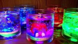 リトルクラフト神戸 LEDアロマジェルキャンドル作り体験 青、赤、緑、青赤グラデーションの全4色1575円~