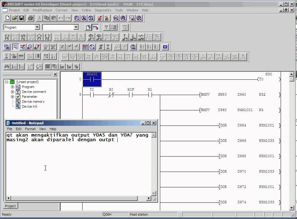 cara edit PLC Mitsubishi secara online YouTube