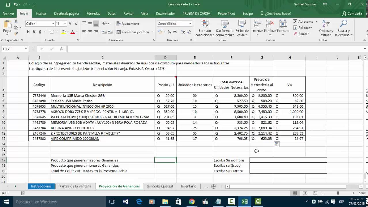 Ejercicio Formulas Min, Max, Suma, Promedio Excel 20