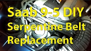 Saab 9-5 DIY: Serpentine Belt and Pulley Replacement - Trionic Seven(This video shows how to inspect and replace the serpentine belt/poly-v-belt on a 4-cylinder gasoline-powered Saab 9-5, model years 1998-2010 (Engine types ..., 2015-12-14T12:02:02.000Z)