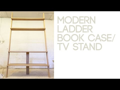 017 Modern Ladder Bookcase And TV Stand