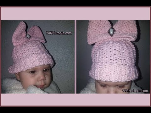 How to Crochet Tutorial: DIY Beanie with Bling by YARNutopia thumbnail