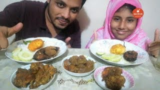 Eating ilish Polao ( ইলিশ পোলাও ) | Mutton Curry | Chicken Curry | Eating Show | Bachelor Foodie