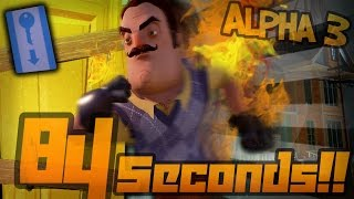 WORLD RECORD!! Hello Neighbor Alpha 3 SPEED-RUN | 84 Second DOOR