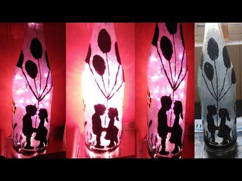 Diy Lamp Diy Frosted Bottle Lamp Bottle Art For Kids Craft