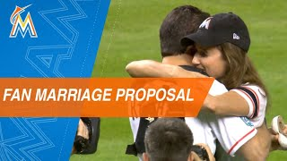 Marlins fan proposes during first pitch