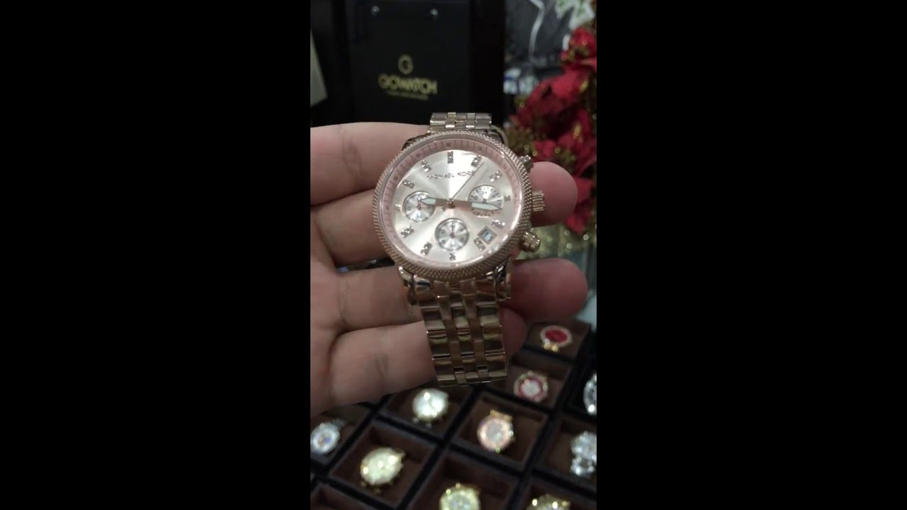 ebb4c2c1a6fa MICHAEL KORS Ritz Chronograph Rose Gold-tone Dial Steel Ladies Watch Item  No. MK6077