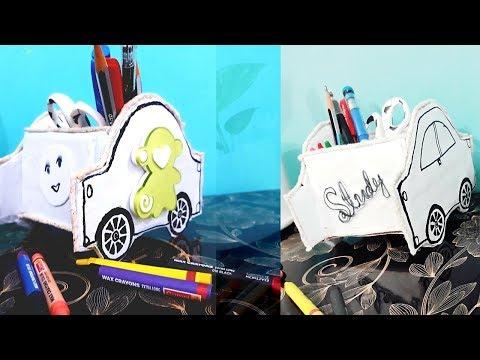 DIY Creative Car shape Pen/Pencil stand | Handmade easy  pen/ pencil holder idea