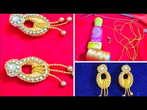 How To Make Silk Thread Earring /Silk Thread Jewellery Making Tutorial
