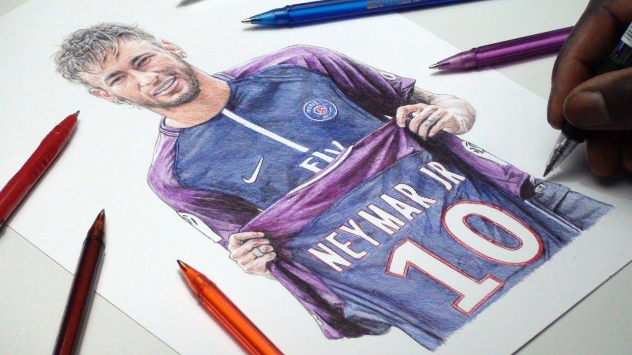 Neymar jr pen drawing psg demoose art