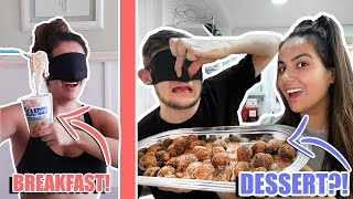 ONLY EATING FOOD BLINDFOLDED  FOR 24 HOURS!!!!! *NOT A GOOD IDEA*