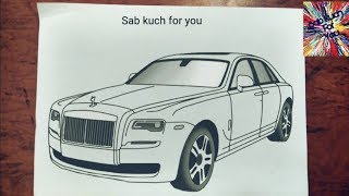 #10 How to Draw Luxury car  Rolls Royce Ghost  Step by step easily 😊