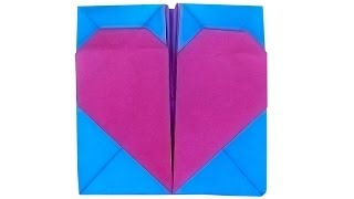 Коробочка оригами с сердечком(Коробочка с сердечком в технике оригами из прямоугольного листа бумаги со сторонами 25 см и 12,5 см. Автор..., 2014-03-15T14:06:09.000Z)