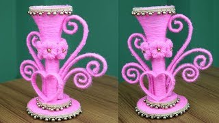 How To Make Beautiful Flower Vase Using Plastic Bottle || Flower Vase Making - Woolen Craft Idea