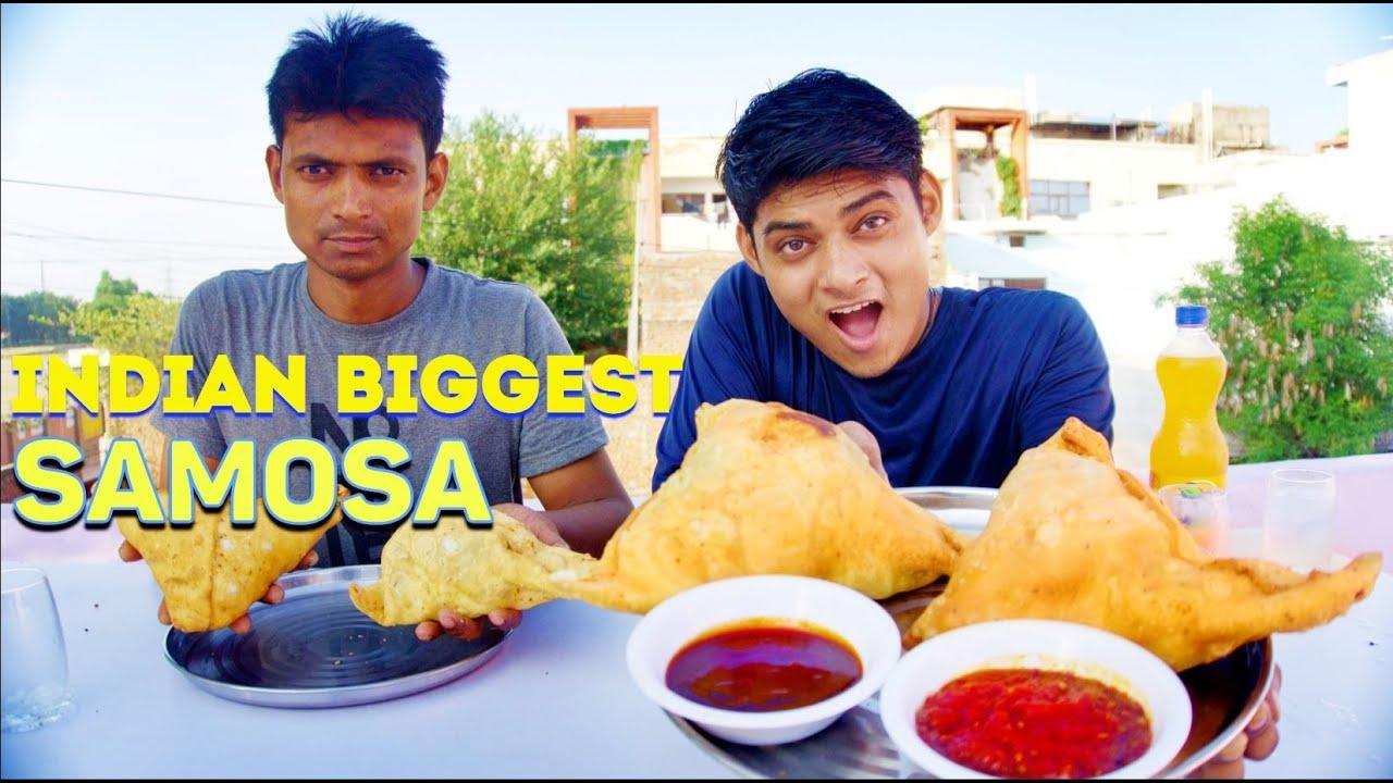 Indian Biggest Samosa Eating Challenge   Homemade Big Samosa Challenge   One big Samosa Challenge