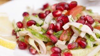 Низкокалорийный салат с кальмаром