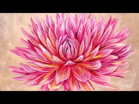Dahlia Acrylic Painting Large Flower Series Live Instruction