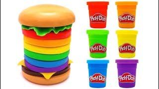 Johny Johny Yes Papa Play Doh Rainbow Hamburger Learn Colors Nursery Rhymes Songs for Kids