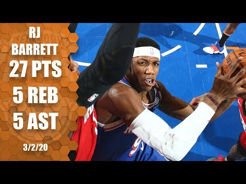 RJ Barrett ties career-high 27 in Knicks vs. Rockets | 2019-20 NBA Highlights
