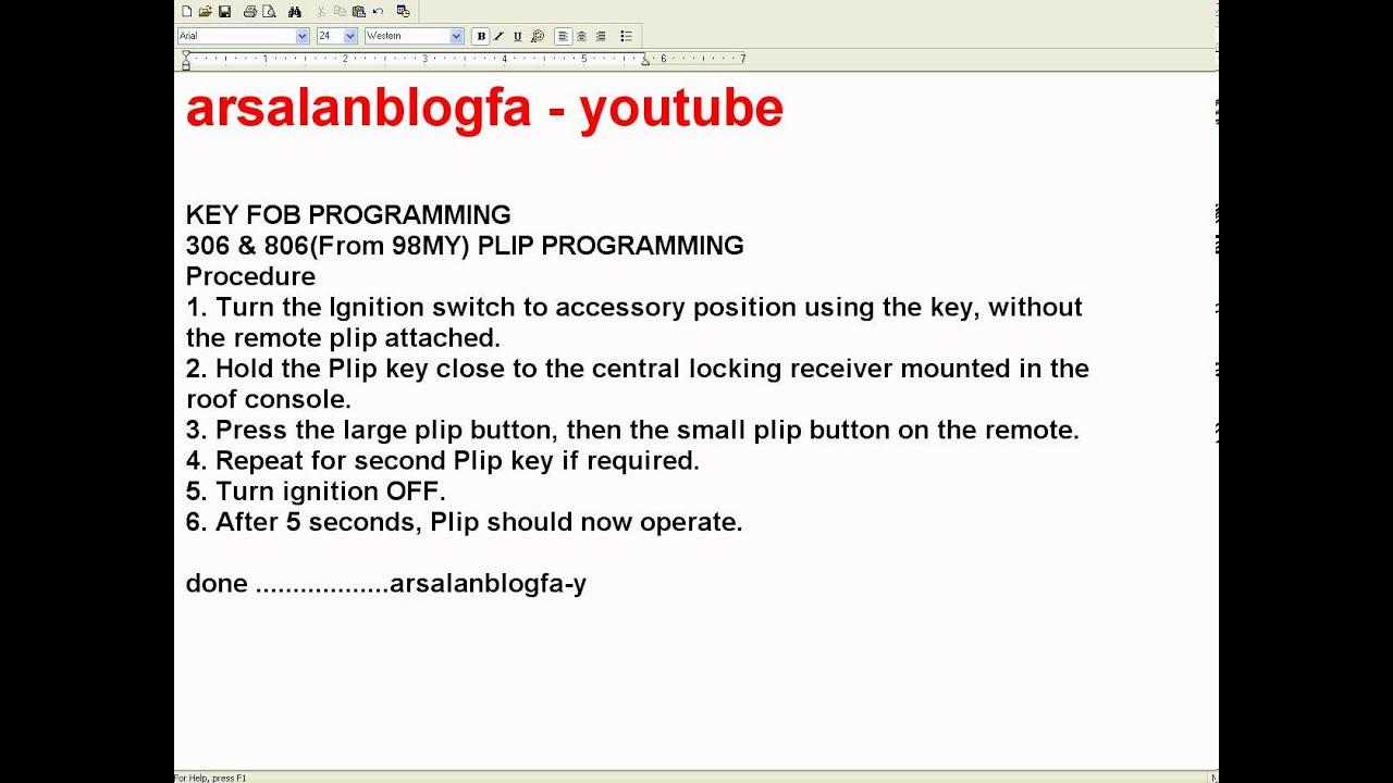 Car Key Programming >> KEY FOB PROGRAMMING PEUGEOT 306 & 806(From 98MY) PLIP PROGRAMMING-car key programing - YouTube