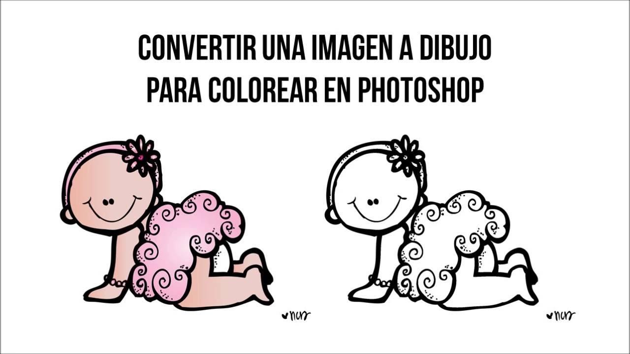 Convertir una imagen a dibujo para colorear en Photoshop - YouTube