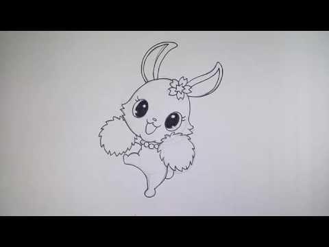 กระต่าย จากการ์ตูน Jewelpet วาดการ์ตูน กันเถอะ สอนวาดรูป การ์ตูน