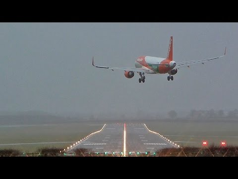 Storm Doris crosswind landings and departures at Newcastle Airport