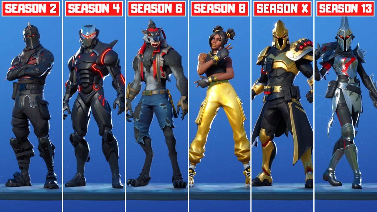 Skins Fortnite Chapter 2 Season 8 Evolution Of Tier 100 Skins In Fortnite All Tier 100 Skins Season 1 Season 13 Youtube
