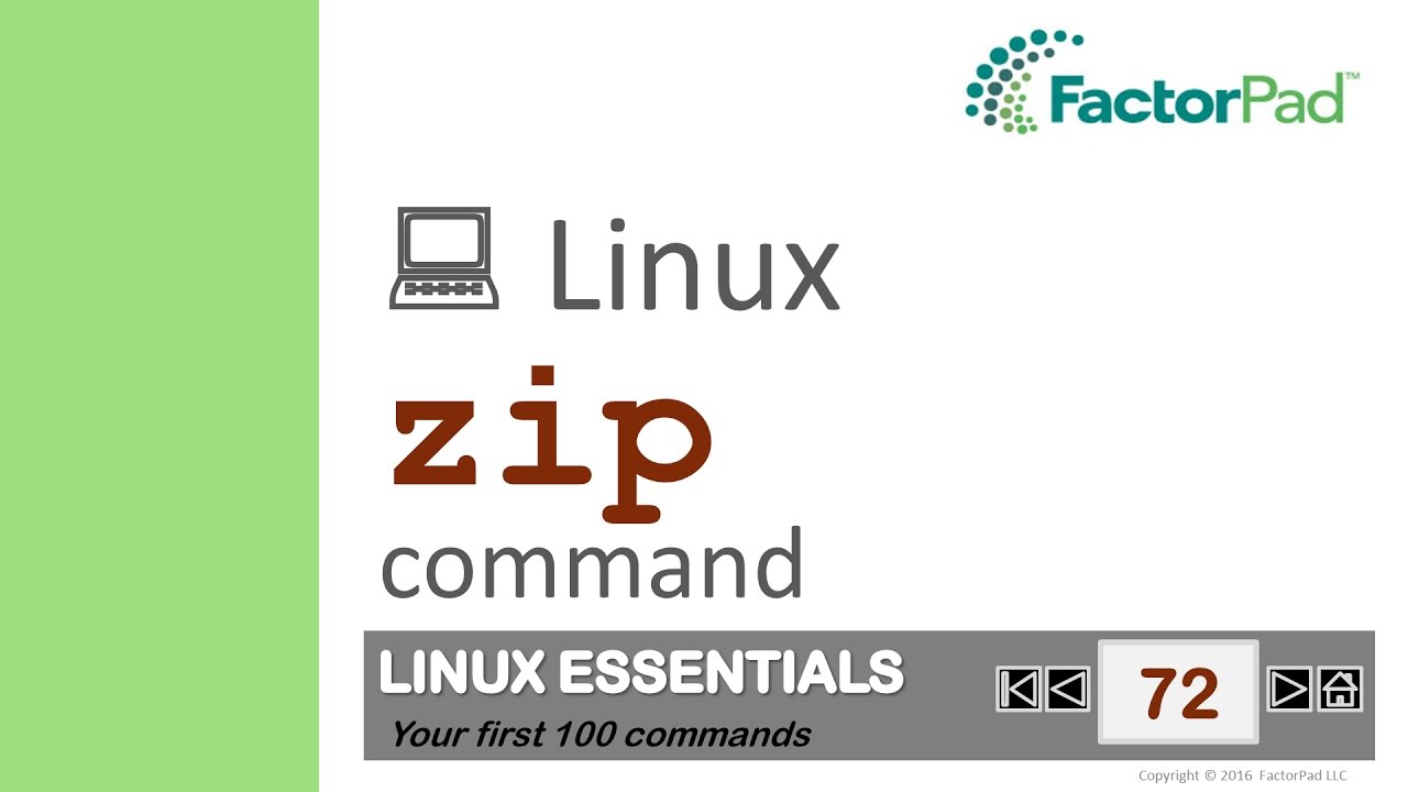 Linux zip command summary with examples tutorial | FactorPad