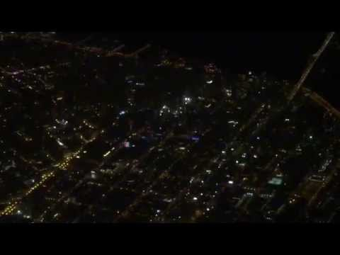 Vancouver to San Francisco flight: takeoff, Victoria BC at night, downtown S.F., landing 2015-01-30