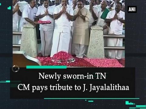 Newly sworn-in TN CM pays tribute to J.  Jayalalithaa - ANI #News