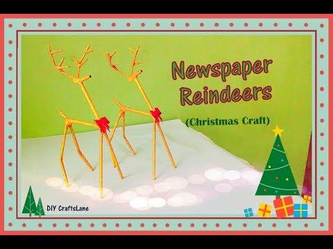 How To Make Newspaper Reindeers    DIY Christmas Reindeer Craft    DIY CraftsLane