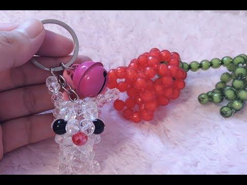 DIY Kawaii Bead Rabbit Keychain 水晶串珠教学 手工制作可爱的小兔子挂饰