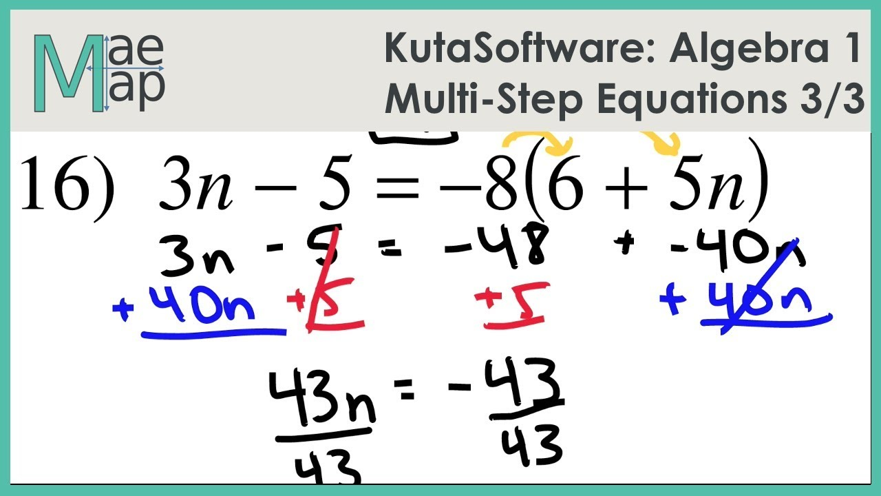 worksheet Algebra 1 Equations kutasoftware algebra 1 multi step equations part 3 youtube 3