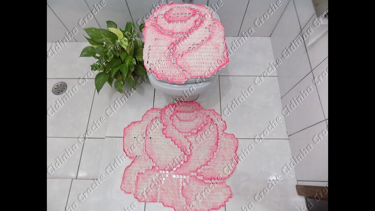 Cidinha Croche Jogo De Banheiro Em Croche Rosas Tampo Vaso
