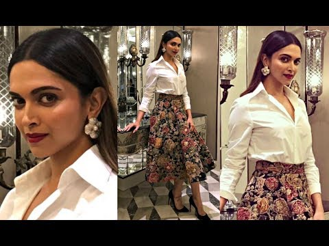 Deepika Padukone Looks Elegant In White Shirt And Vibrant Printed Skirt thumbnail