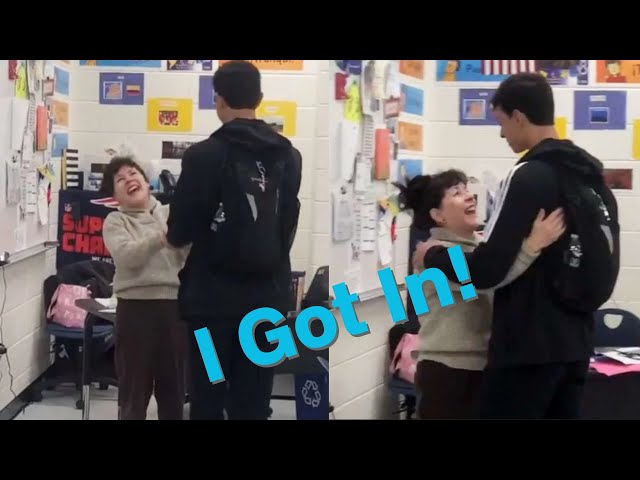 Student surprises teacher with his college acceptance news and her reaction is priceless