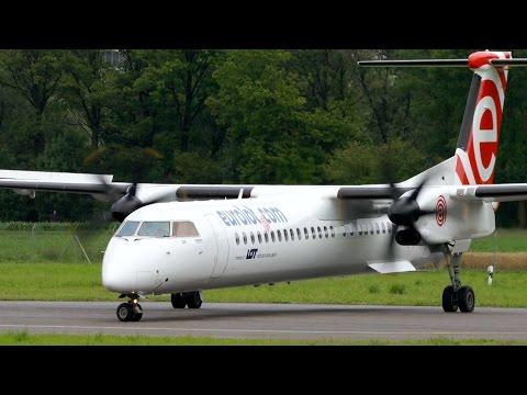 Dash 8 Q400 Eurolot Landing & Take Off At Bern Airport