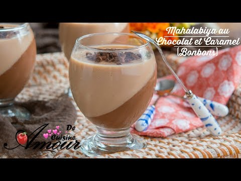 un double dessert ou duo de mhalabia au chocolat et caramel ( caprices)