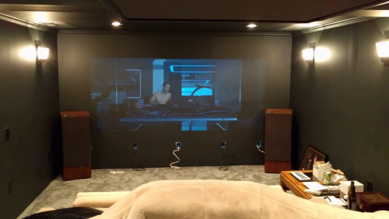 home theater [update 02] - epson 2150 setup without screen, projecting on  dark wall