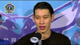 Jermey Lin post game interview with Stephanie - Hornets vs Rockets - 3/12/2016
