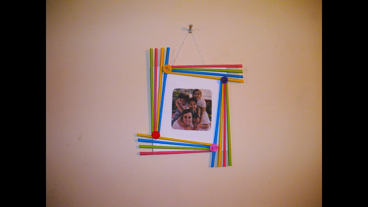 Diy easy photo frame birthday gift idea room decoration made with colorful paper youtube - How to deoration room ...