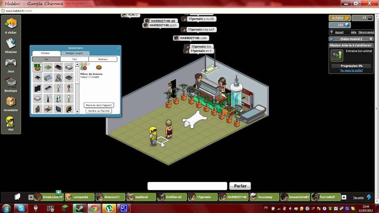 Habbo germain17 no p ta a sa chaise musicale youtube for Chaise musicale