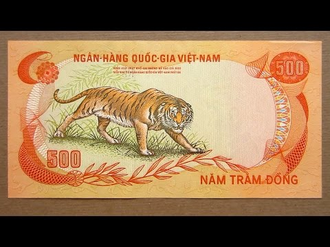 500 South Vietnamese Dong Banknote (Five Hundred Dong South Vietnam: 1972) Obverse & Reverse