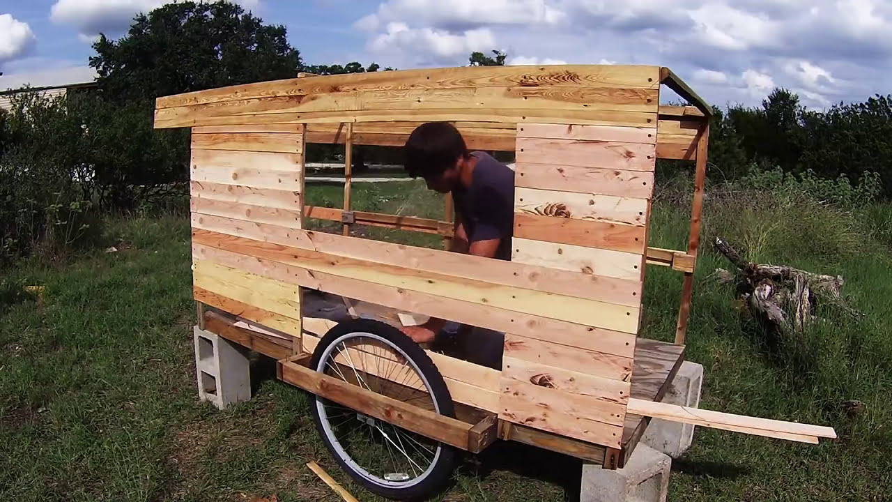 Wooden Bicycle camper Walls time lapse update!!!!!!! - YouTube